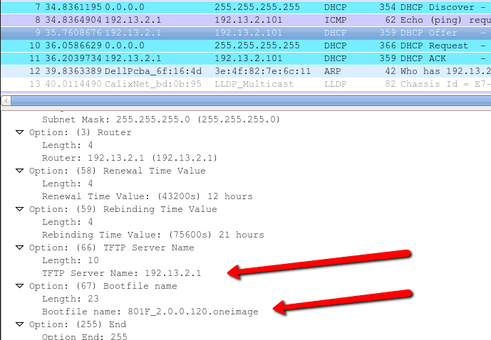 How to Upgrade an 801F modem using DHCP options 66/67 with TFTP